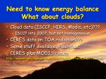 need to know energy balance what about clouds