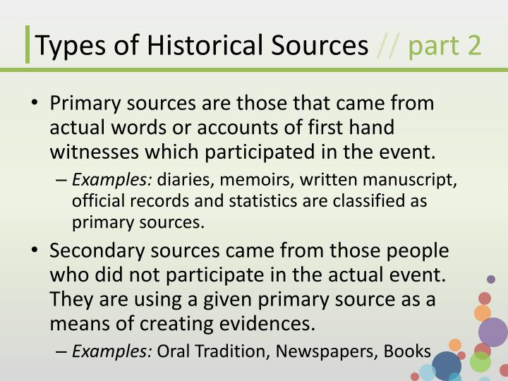Types of historical sources part 2