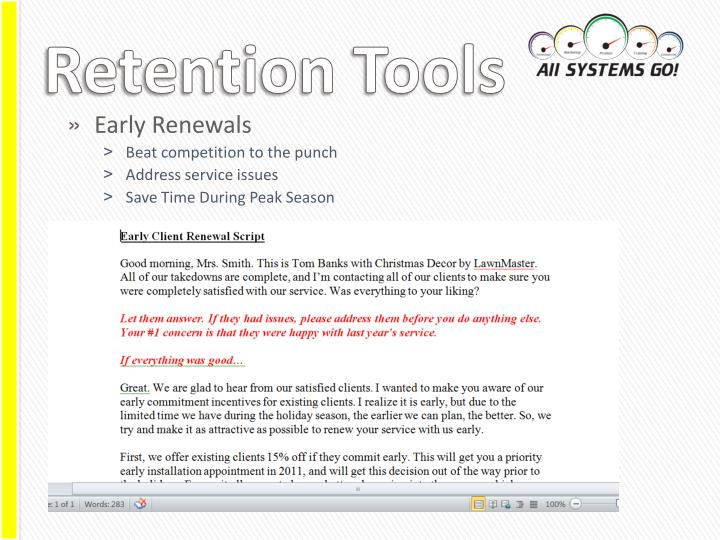 Retention Tools