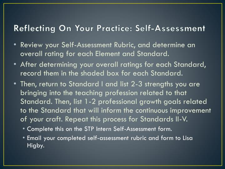 Reflecting On Your Practice: Self-Assessment
