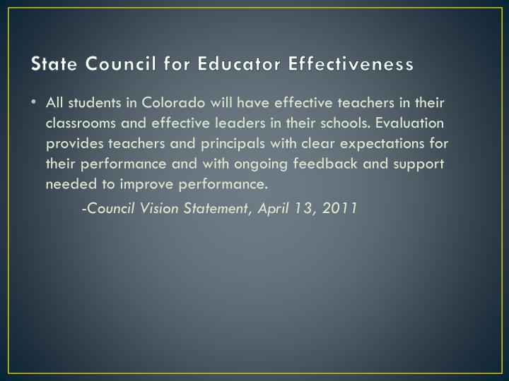State Council for Educator Effectiveness