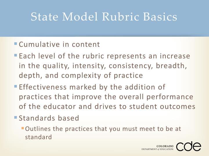 State Model Rubric Basics