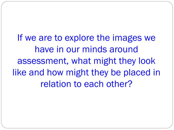 If we are to explore the images we have in our minds around assessment, what might they look like and how might they be placed in relation to each other?