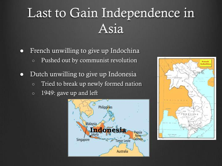 asian country gained independence from dutch 1950