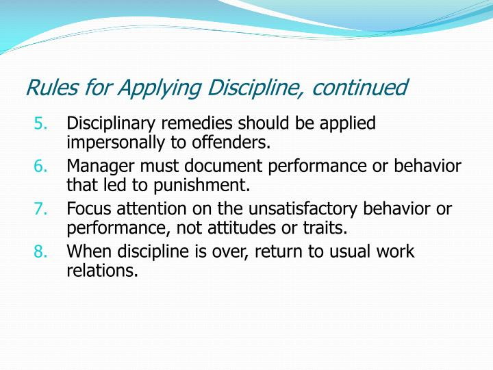 Rules for Applying Discipline, continued