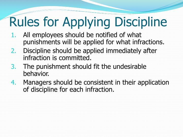 Rules for Applying Discipline