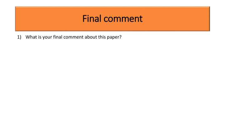 Final comment