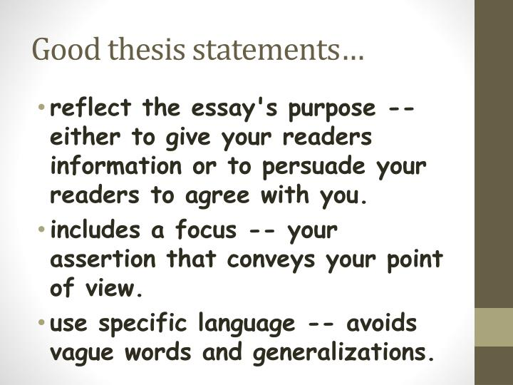 Good thesis statements…