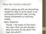 how do i write a thesis