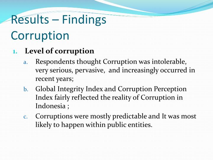 Results findings corruption