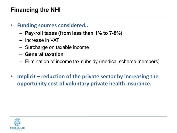 Financing the NHI