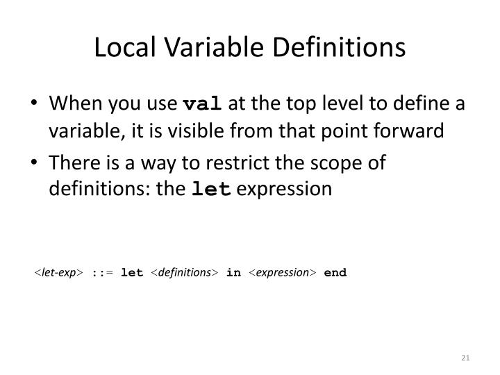 Local Variable Definitions
