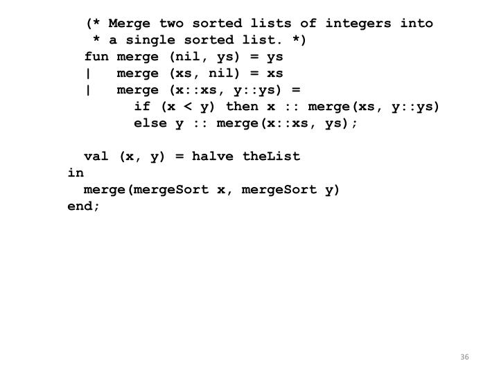 (* Merge two sorted lists of integers into