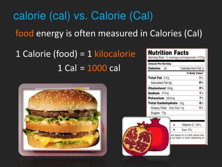 calorie (cal) vs. Calorie (Cal)