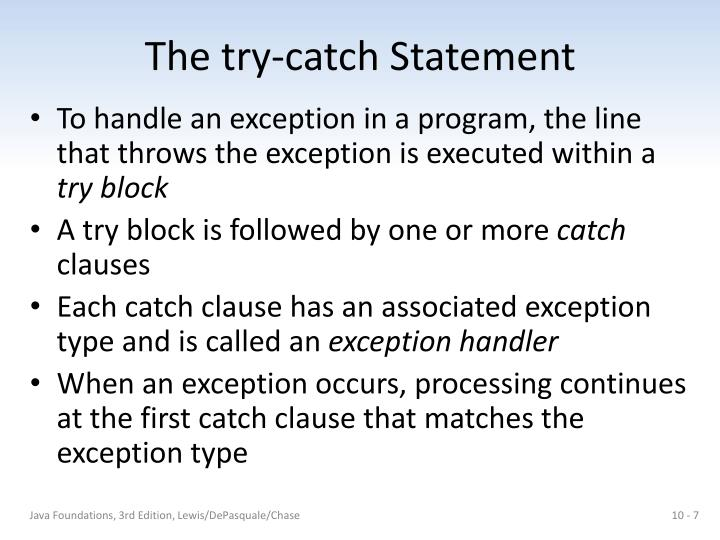 The try-catch Statement