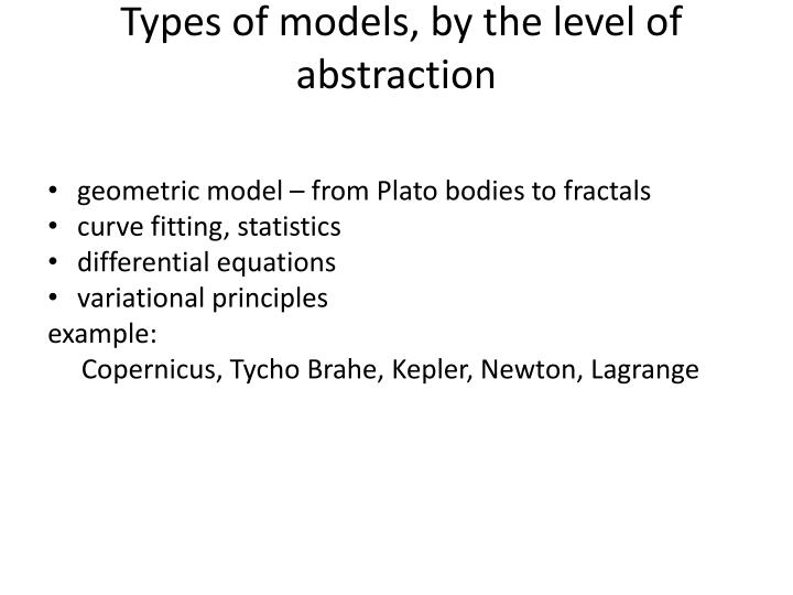 Types of models, by the level of abstraction