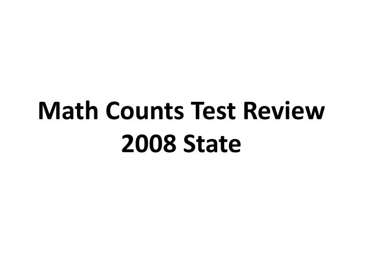 Math Counts Test Review