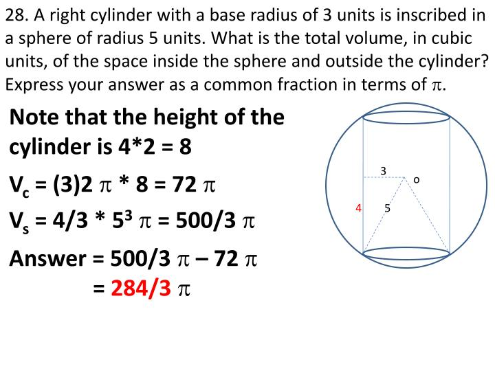 28. A right cylinder with a base radius of 3 units is inscribed in a sphere of radius 5 units. What is the total volume, in cubic units, of the space inside the sphere and outside the cylinder? Express your answer as a common fraction in terms of