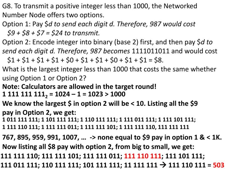 G8. To transmit a positive integer less than 1000, the Networked Number Node offers two options.