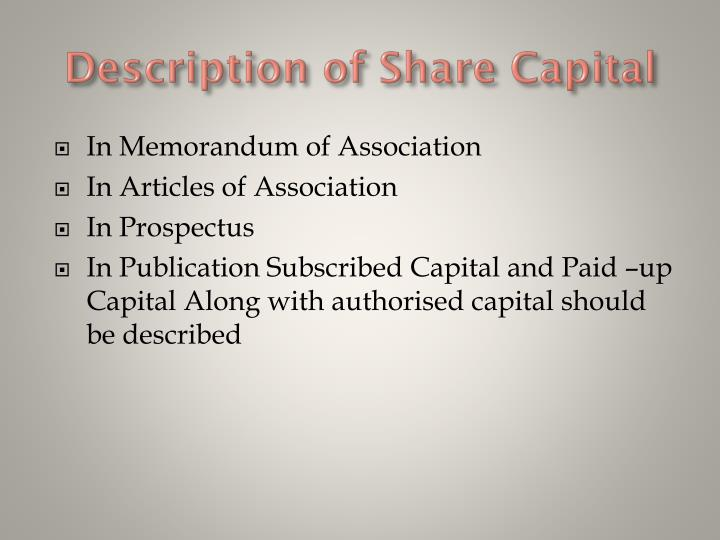 Description of Share Capital
