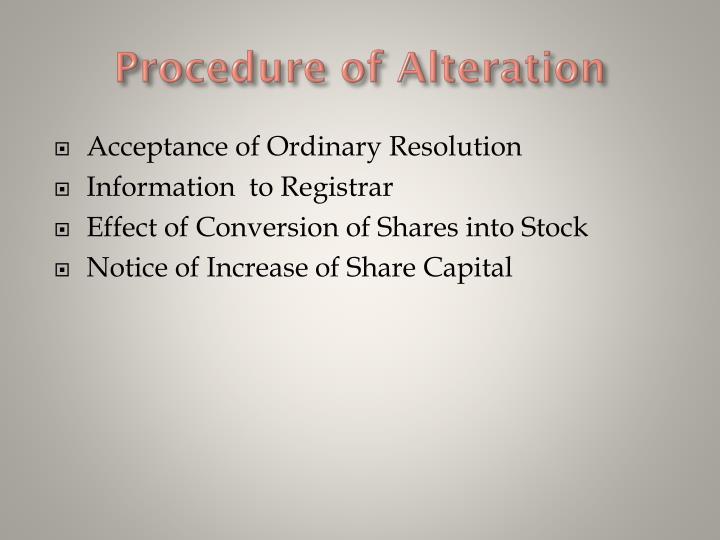 Procedure of Alteration