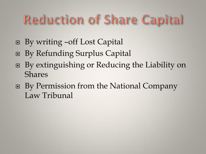 Reduction of Share Capital