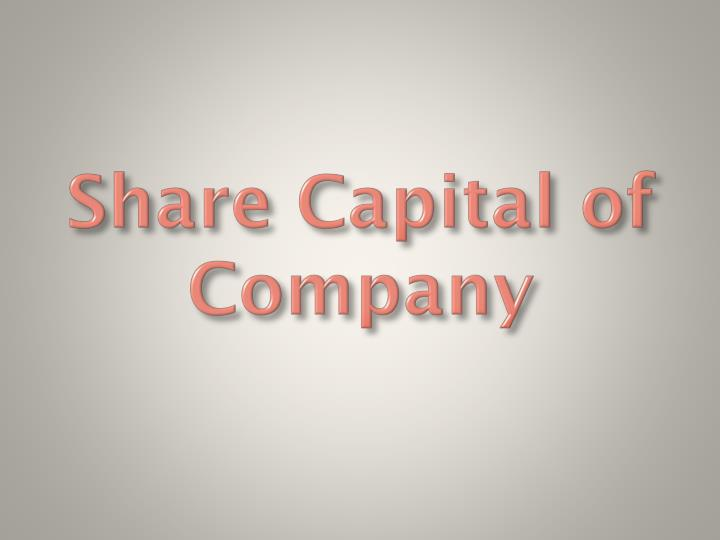 share capital of company