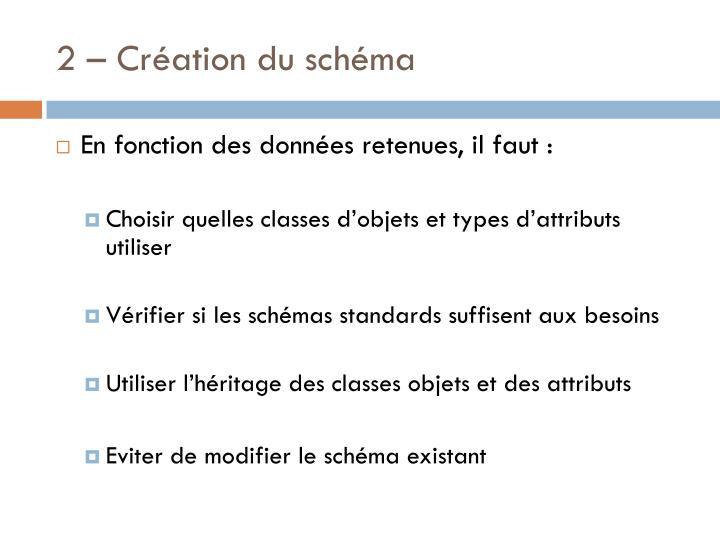 2 – Création du schéma
