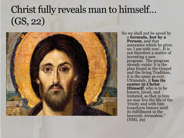 Christ fully reveals man to himself gs 22
