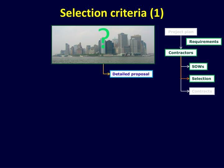 Selection criteria (1)