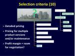 selection criteria 10