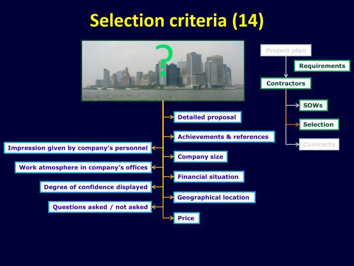 Selection criteria (14)