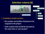 selection criteria 3