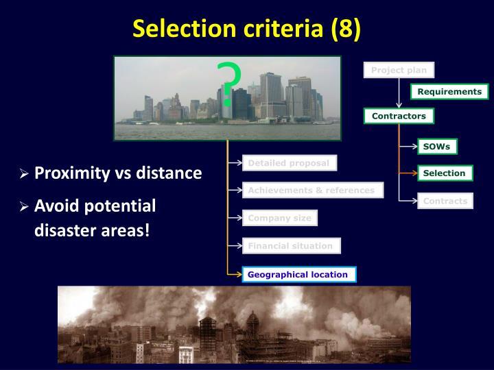 Selection criteria (8)