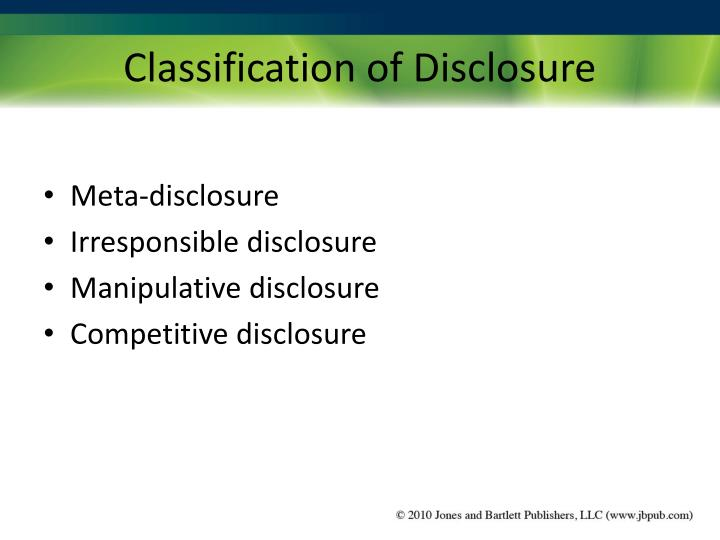 Classification of Disclosure