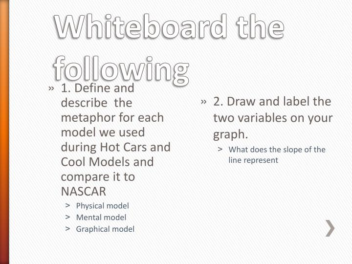 1. Define and describe  the metaphor for each model we used during Hot Cars and Cool Models and compare it to NASCAR