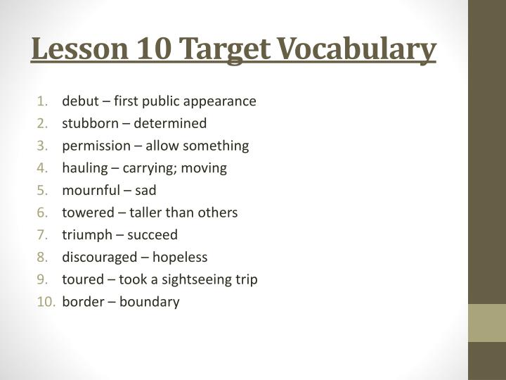 Lesson 10 Target Vocabulary