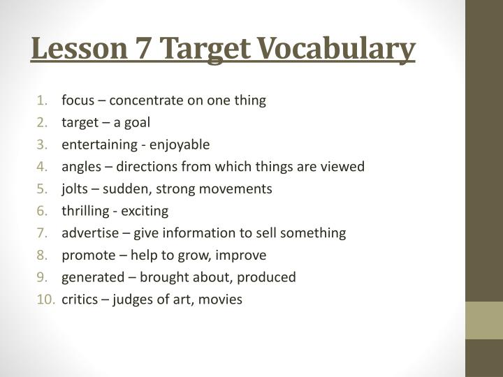 Lesson 7 Target Vocabulary