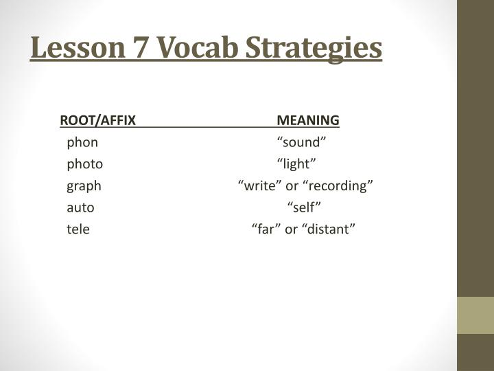 Lesson 7 Vocab Strategies