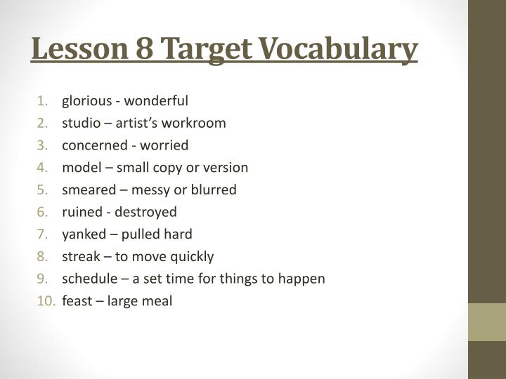 Lesson 8 Target Vocabulary
