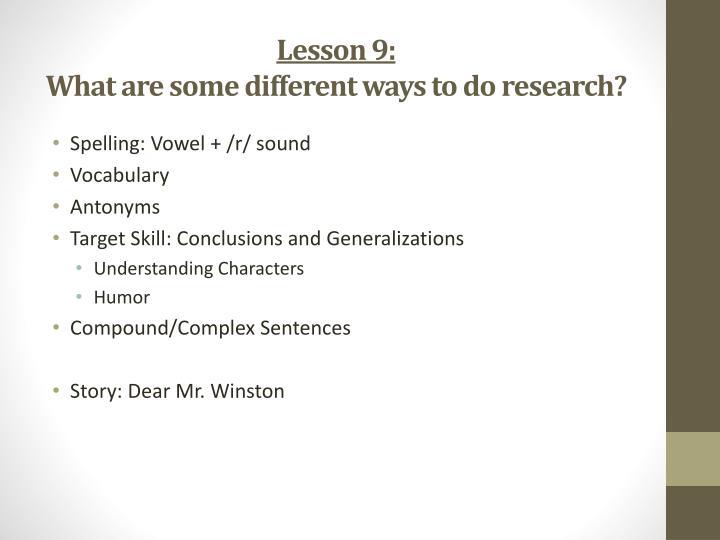 Lesson 9: