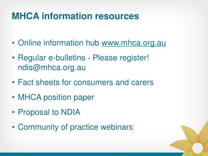 MHCA information resources