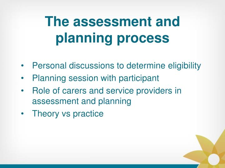 The assessment and planning process