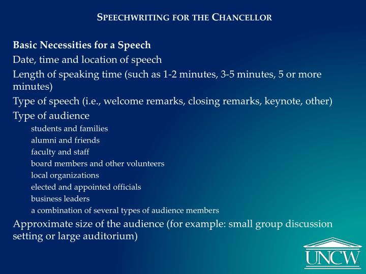 Speechwriting for the Chancellor