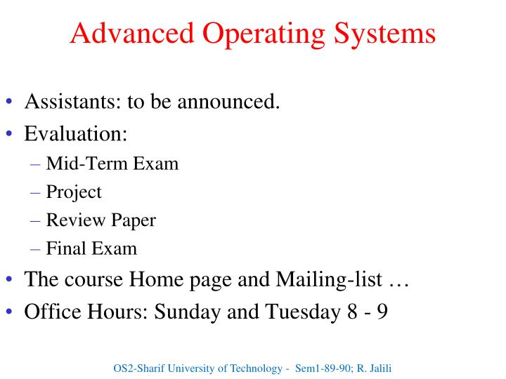 Advanced operating systems1