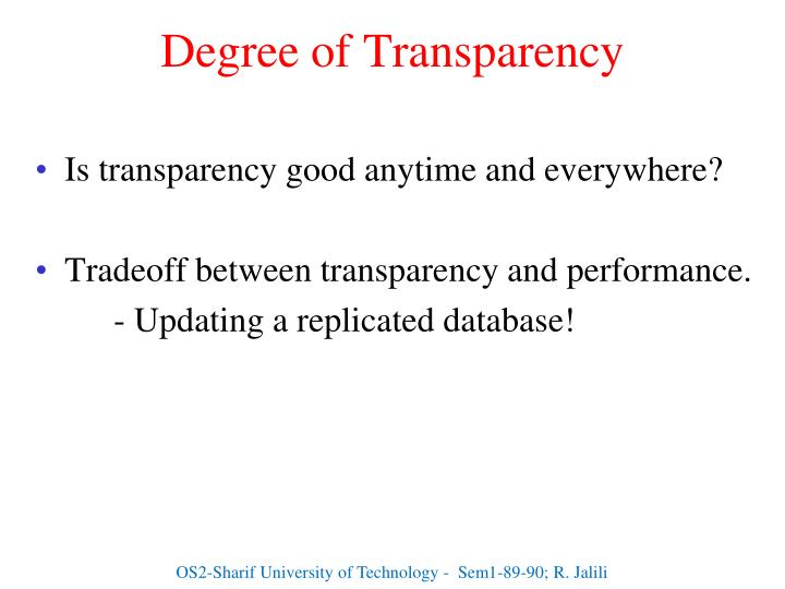 Degree of Transparency