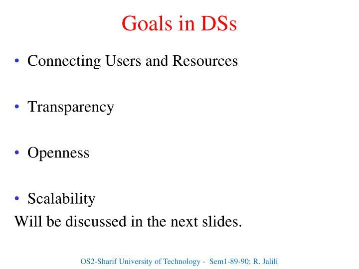 Goals in DSs