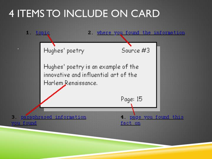 4 Items to include on card