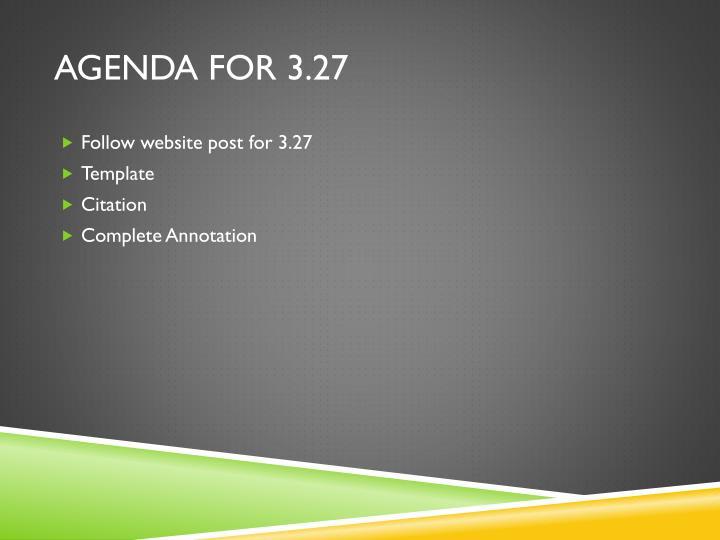 Agenda for 3.27