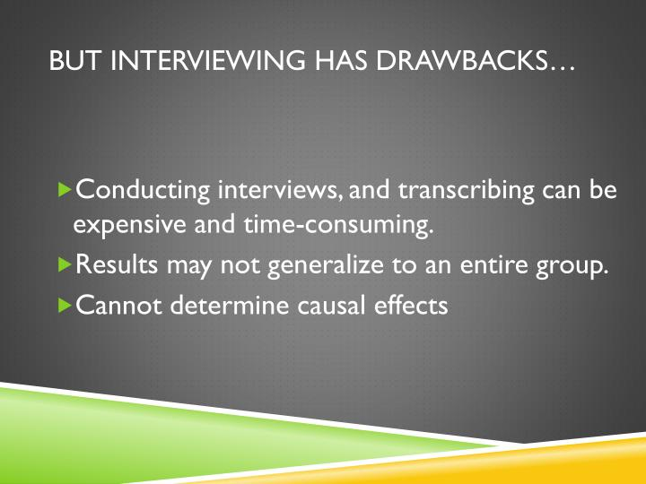 But Interviewing has drawbacks…